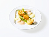 Fried scallops with molecular foam