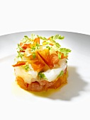 Tomato tartare with white fish and parsley