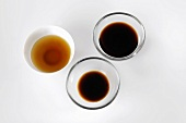 Fish sauce and soy sauce in dishes