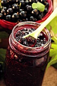 Blackcurrant jam in jar