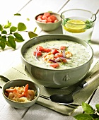Cream of cucumber soup with prawns and watermelon