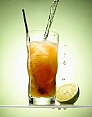 Cynar and lime cocktail