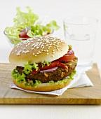 Tofu and corn burger with tomatoes