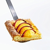 Piece of peach cake on server