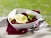 Vanilla ice cream with plum compote