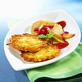 Potato röstis with sherry pears
