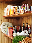 Assorted foods in pantry