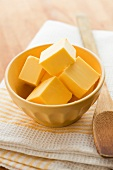 Butter cubes in ceramic bowl