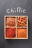 Chilli flakes, chillies, chilli powder, chilli threads in type case