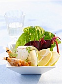 Prawns with salad garnish