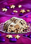 Christmas stollen on glass plate