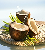 Coconut and pineapple drink in coconut