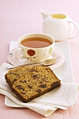 Banana and date cake with tea