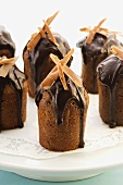 Chocolate mocha cakes with chocolate sauce