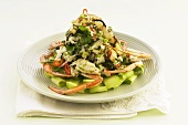 Crab salad with vegetables and herbs