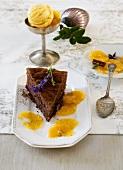 Chocolate cake with orange slices & orange sorbet (Christmas)