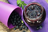 Blueberry jam in screw-top jar