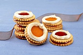 Almond biscuits with jam filling