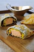 Salmon fillet in strudel pastry