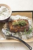 Roast beef in herb salt