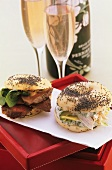 Poppy seed bagels and rosé sparkling wine