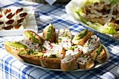 Salmon paste, avocado & cress, soft cheese, radishes & cress on baguette