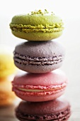 Different coloured macarons (small French cakes, stacked)