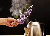 Holding spray of sugar roses over steam