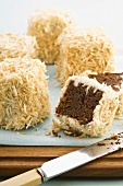 Lamingtons (Cubes of cake coated in coconut, Australia)