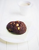 Chocolate cookie with macadamia nuts