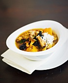 Saffron pumpkin soup with autumn mushrooms