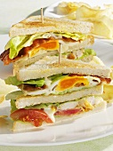 Club sandwiches with chicken, egg, tomato and bacon
