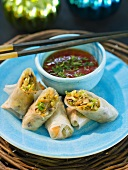 Rice paper rolls with sweet chilli dip