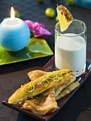 Baked banana with pancakes and pineapple coconut shake
