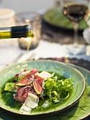 Fig salad with Serrano ham and Parmesan