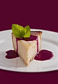 Piece of cheesecake with fruit sauce