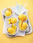 Several portions of mango ice cream on tray