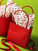 Red gift bag and wrapping paper