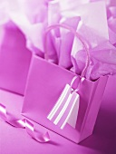 Purple gift bag and wrapping paper