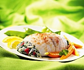 Sole with rice and vegetable stuffing