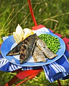 Grilled mackerel fillets with peas