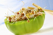Green tomato stuffed with sprouts