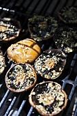 Portobello mushrooms on a barbecue