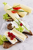 Various cheeses on bread