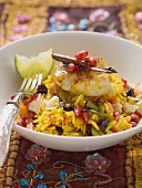 Jewelled rice with chicken breast and saffron
