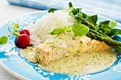 Salmon with herb sauce and green asparagus