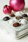 Chocolate truffles in metal box (Christmas)