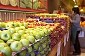 Various apple varieties in a supermarket