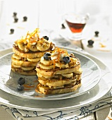 Crumpets with blueberries and bananas