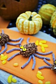 Puffed rice and liquorice spiders for Halloween